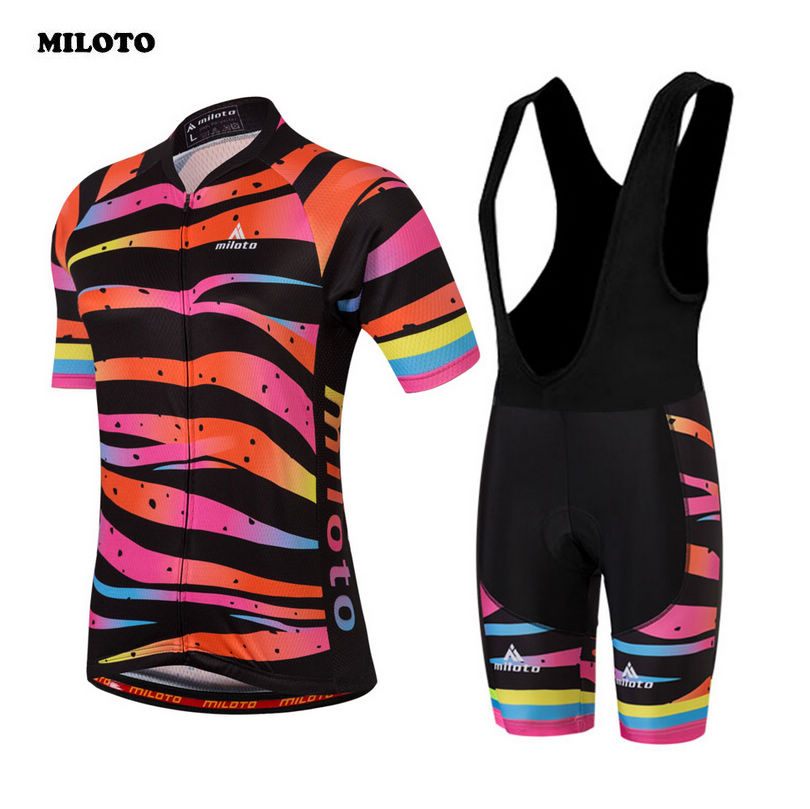 89c1dac752f8 MILOTO Cycling Jersey Riding Women Wear Ropa Ciclismo Sports Girls Bike  Bicycle Short Sleeve Jersey (Bib) Shorts Set S-4XL