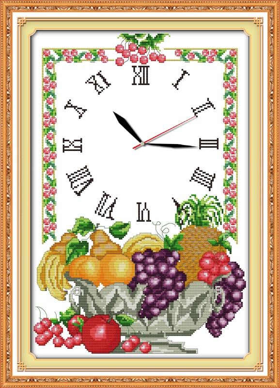 Fruit Cross Stitch Kit 14ct 11ct Count Print Canvas Wall Clock Stitching Embroidery DIY Handmade Needlework