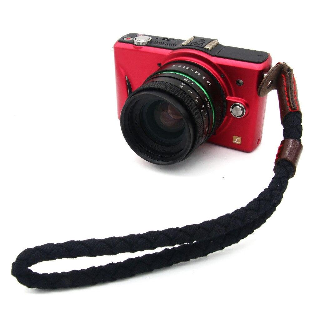 NºLienzo negro trenzado mano correa de muñeca para Canon Leica Nikon ...