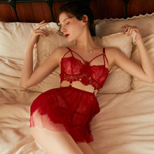 Quần Lót Đồ Ngủ Nữ Ren Trong Suốt Ngắn Đầm Ngực Nhỏ Phẳng Niềm Đam Mê Thêu Hoa Váy Ngủ