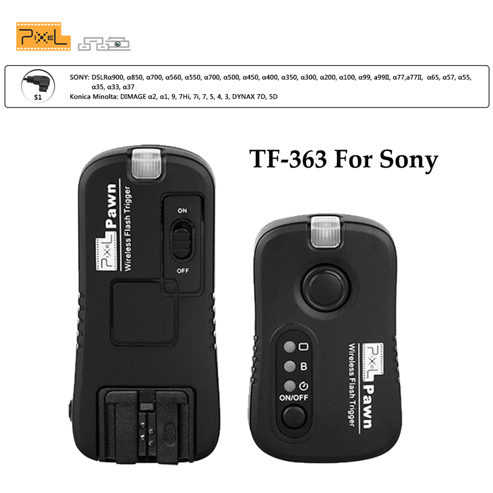 Pixel TF-363 For Sony A350 A33 A55 A57 A65 A77II A99 A67 A35 A37 A580 A900 A200 A300 A450 A560 A700 A850 Wireless Flash Trigger дневные ходовые огни toyota rav4 2 set abs 15w 12v 6000k