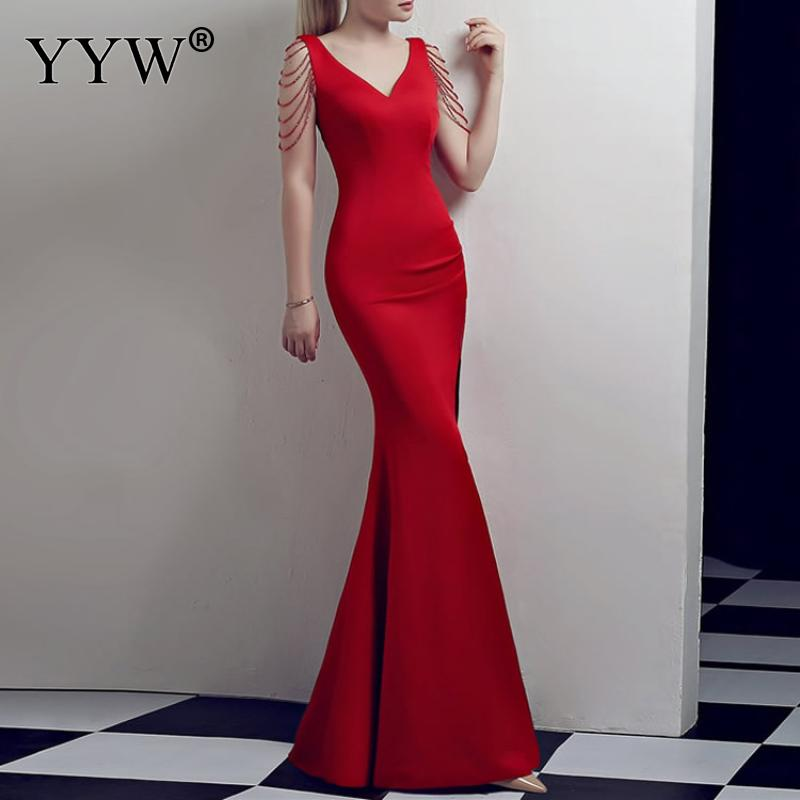 Crystal Beading V Neck Sleeveless Elegant Evening Dresses Women High Slit Formal Gowns Female Solid Green Red Sexy Club Vestidos