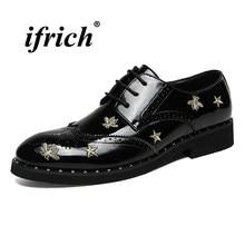 Brogues Schuhe Männlichen Schwarz Silber Mann Kleid Schuhe Frühling Herbst Formale  Schuhe für Mann PU Gummi Unten Schnüren Sozia. 9060fa783e
