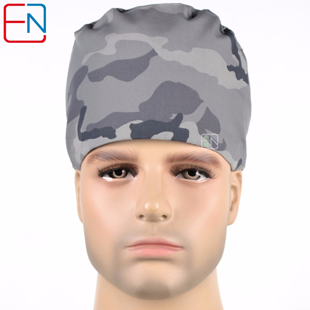 Men Medical Caps,male Surgical Caps,men Doctor Caps,scrub Caps In Grey Camouflage