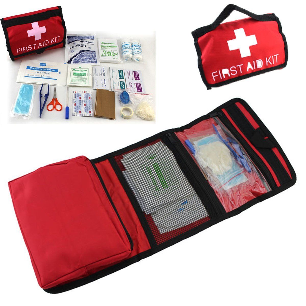 1set Outdoor Wilderness Survival First Aid Kit Medical Bag Rescuing Equipment Camping Hiking Medical Emergency Treatment Packs outdoor survival 12 in 1 emergency bag first aid kit bag middle size red emergency survival medical kit treatment pack