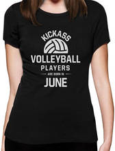 Cartoon Character Crew Neck Short  Volleyballer Players Are Born In June Office Womens Tee