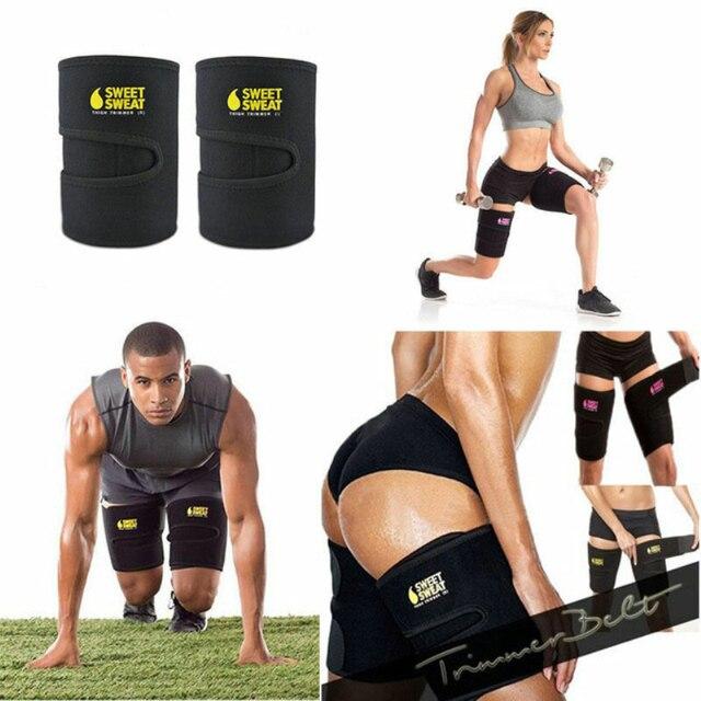 Men and women leg shaper sauna sweat thigh adjustable leggings weight loss hot neoprene compression belt sports knee pads 1