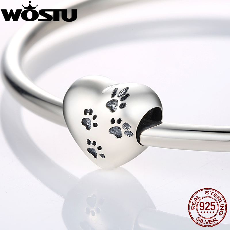 100% 925 Sterling Silver My Sweet Pet Paw Print Charm Beads Fit Original Bracelet Pendants DIY Accessories Jewelry Making mirage pet products 20 inch patriotic star paw screen print shirts for pets 3x large white