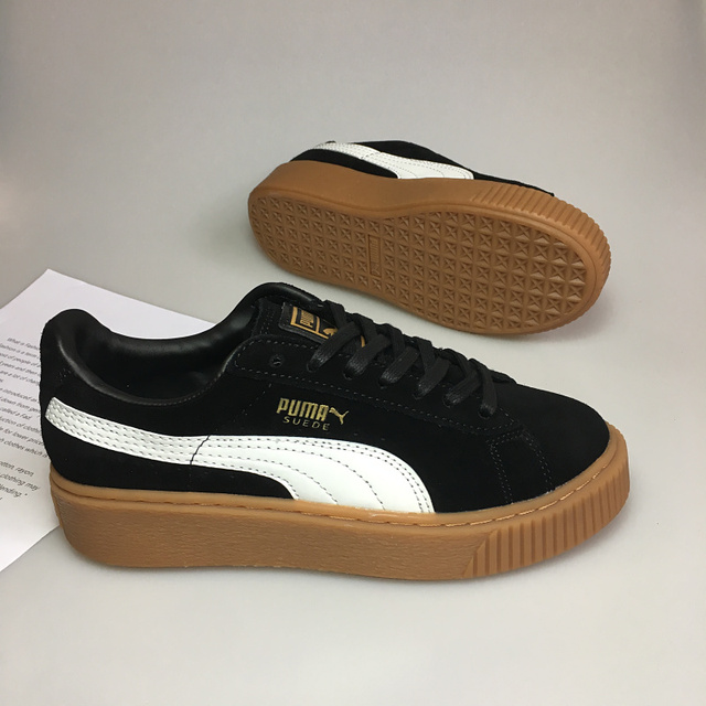eef70de9abd4 2018Puma shoes puma Velvet thick-soled platform shoes Shoes for men and women  velvet black size 35.5-39