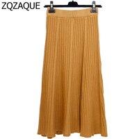 פיצוץ סתיו החורף של הנשים חמות אונליין חדש גדול אופנה חצאית המותניים אלסטית מכפלת סרוג בסגנון מתוק טרי של גברת חצאיות SY1400