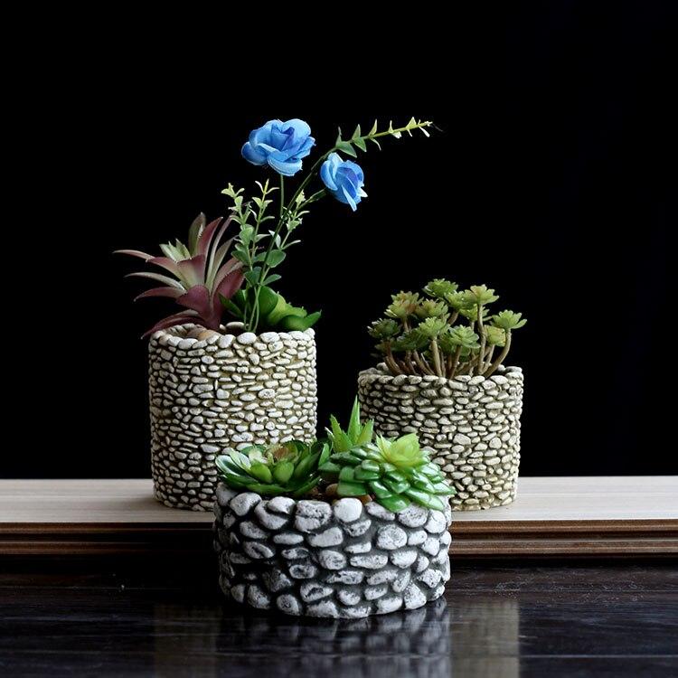 SILICONE MOLLD créatif à la main en céramique ciment imitation pierre multi-viande vert pots de fleurs de bureau pots 3D VASE moule