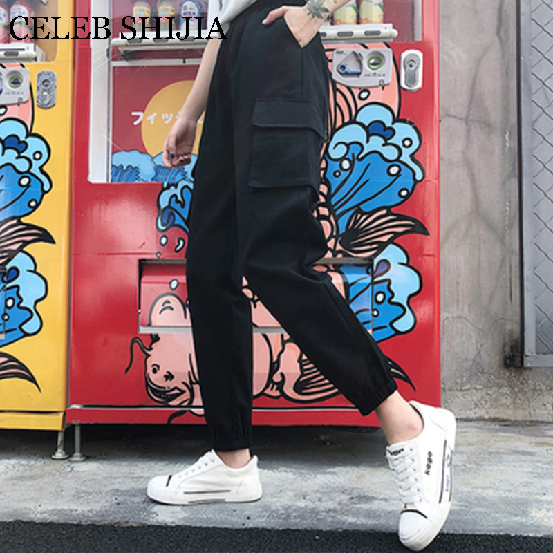 New Harajuku Casual green Cargo   Pants   Women Stripes Elastic High Waist   Pants     Capris   Streetwear Korean Sweatpants Joggers summer
