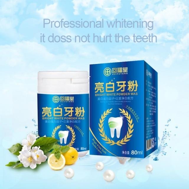 80 ml magia perla Natural cepillo de dientes polvo físico blanqueador de dientes desintoxicante y blanqueamiento Dental higiene bucal caliente recomendado