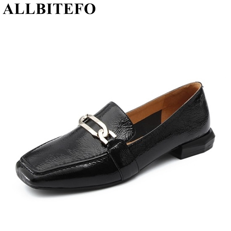 ALLBITEFO large size:34-41 Patent leather square toe low heeled women pumps thick heel ladies shoes girls shoes Sra zapato allbitefo 2018 new spring horsehair thick heel lace up women pumps low heeled platform casual women shoes office high heel shoes