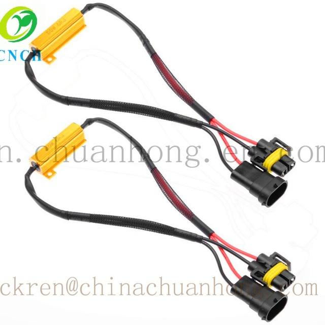 cnch 2x h8 h9 h11 50w 6ohm gold aluminum load resistor error free wiring  harness cancellor decoder