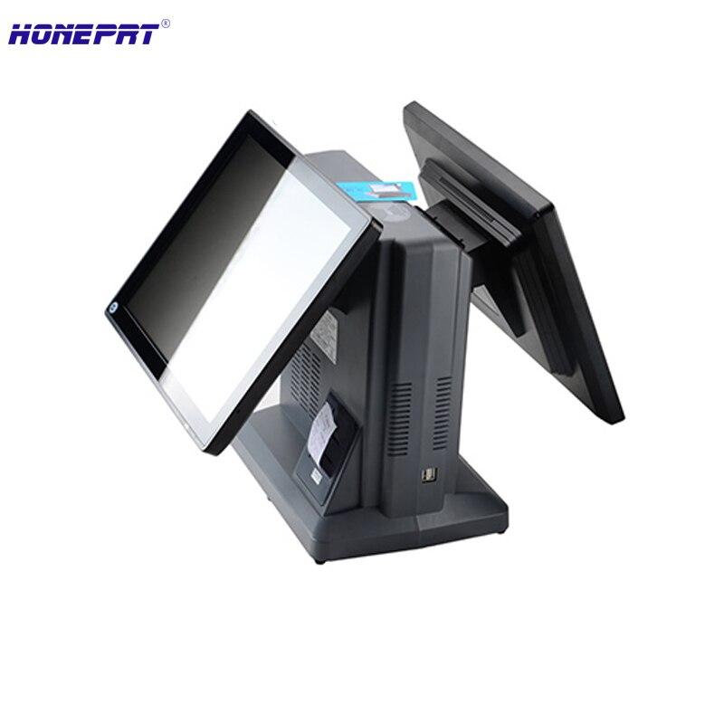 Système de position de Restaurant à double affichage de 15 pouces tout en un HS-650-2 de caisse de position d'écran tactile