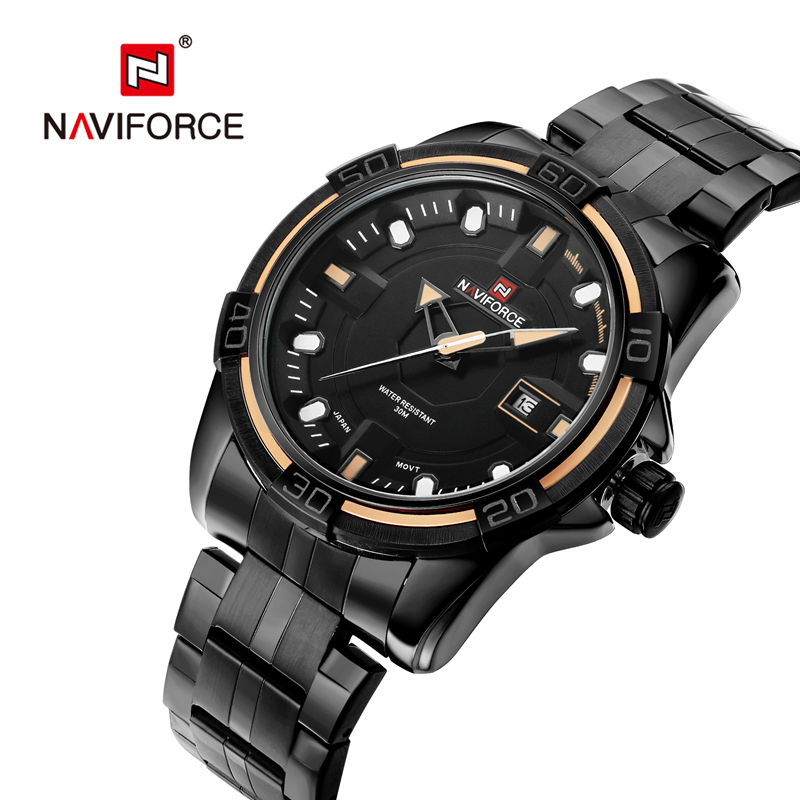 NAVIFORCE Men Business Watch Clock Mens Watches Top Luxury Military Full Stainless Steel Quartz Wrist Watch Relogio Masculino migeer relogio masculino luxury business wrist watches men top brand roman numerals stainless steel quartz watch mens clock zer