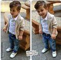 2015 Boys clothes suit gentleman fashion denim pants set jacket T-shirt tie children clothes Kids Plaid bow Free Shipping
