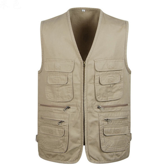 2017 Men's Clothing Sleeveless Jacket Vest Casual Three Colors Shooting Vest With Many Pocket Plus Large Size 4XL Cotton Vest
