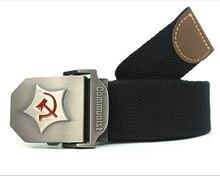 2016 Nueva Correa de Los Hombres correa de Lona de Espesan Comunista Ejército Cinturón Militar Cinturón Táctico Correa de la Alta Calidad 110 130 cm 12 Colores
