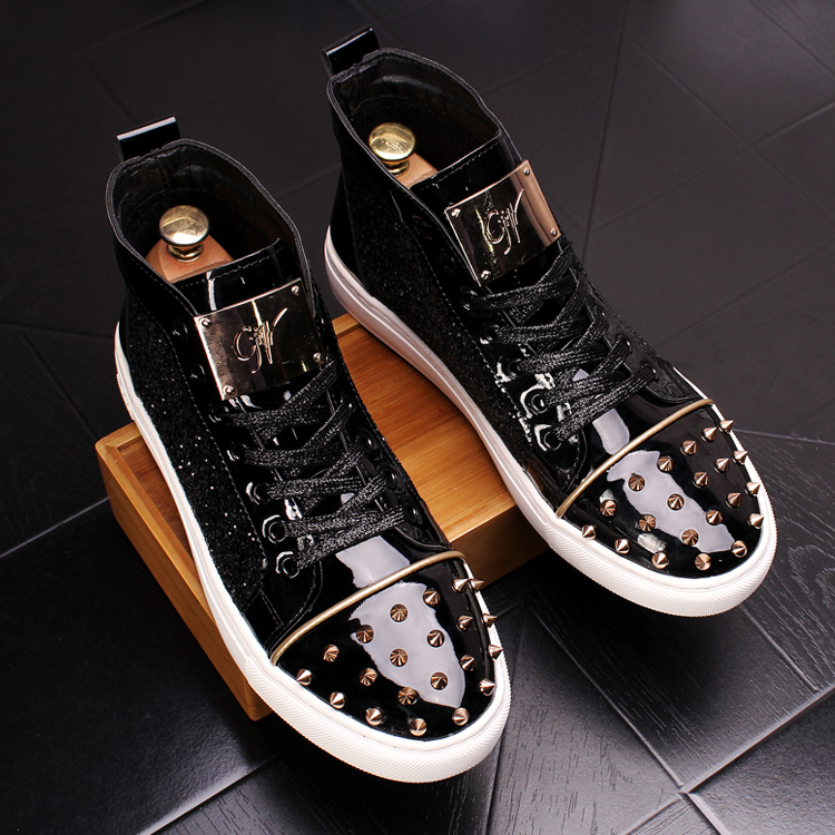 CuddlyIIPanda Men Fashion Punk Sneakers Metal Casual Platform High Top Shoes Flat Martin Boots Male Rivets Prom Shoes Zapatillas 21