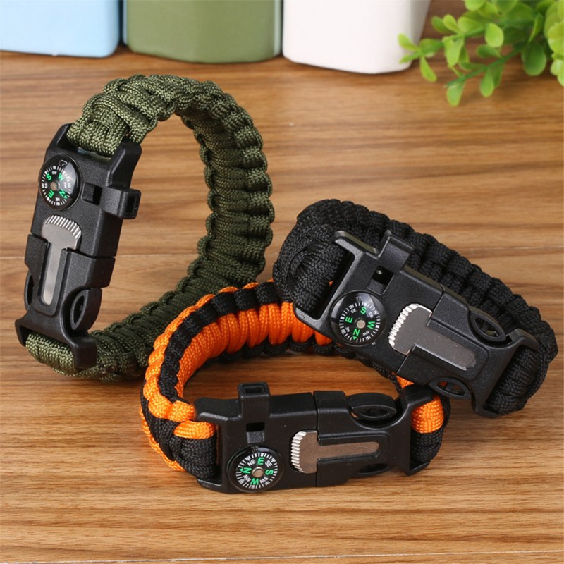Men Women Paracord Outdoor Survival Bracelet Multi-function Camping Rescue Emergency Rope Bangles Compass Whistle Knife 4 In 1
