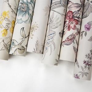 Image 5 - Красные винтажные обои с птицами и цветами, китайские цветочные обои для стен, спальни, гостиной, Деревянные Настенные бумаги, нетканые