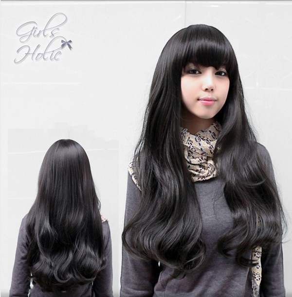 Long Wavy Cheap Realistic Wigs Neat Bangs Lolita None Lace Perruque Peruca Synthetic -5176