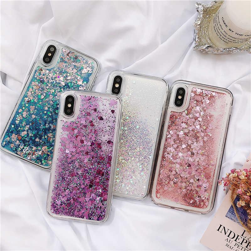 Sıvı Glitter iphone için kılıf 7 8 artı 5 5S SE iphone için kılıf X XR XS Max 6 6S artı kılıfları dinamik sıvı Quicksand aşk kapak