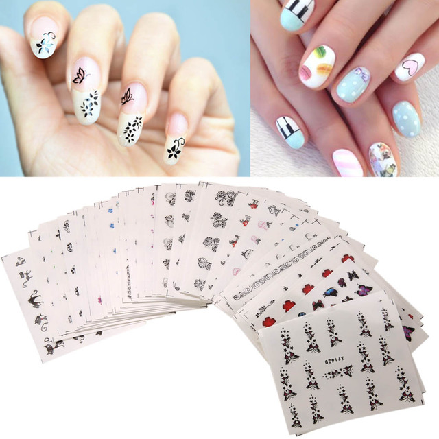 50Pcs Colorful Mixed Flower Nail Stickers Decorations Water Transfer Wraps Nail Tips Manicure Tips Decal Nail Art Stickers