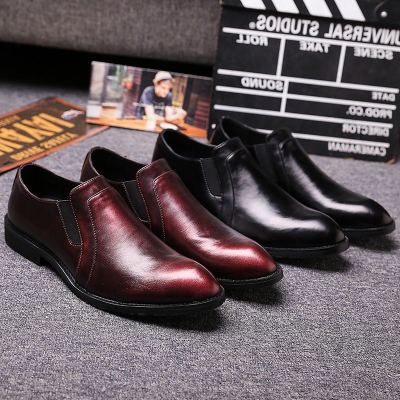 ФОТО Fashion Youth Wine Red Leather Shoes Italian Designer Mens Dress Shoes British Style Pointed Slip On Wedding Shoes Men Flats
