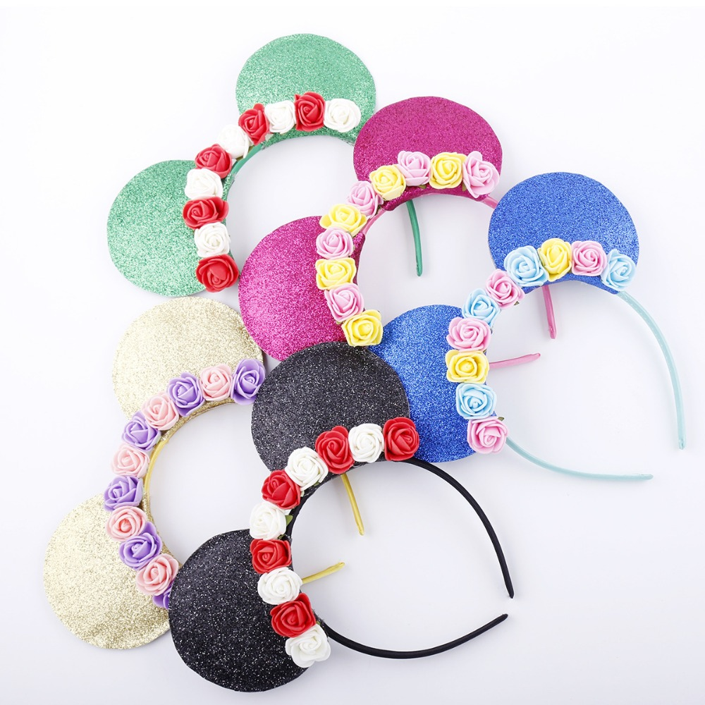 1PC New Arrival Minnie Mouse Ears Hairbands Sequin Rose Flower Headband For Girls Mouse Headband Children Hair Accessories