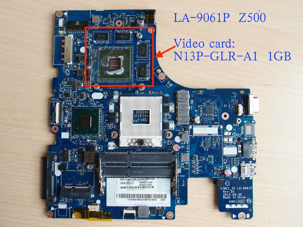 Free Shipping la-9061p Mainboard For Lenovo Z500 Motherboard with N13P-GLR-A1 1GB GPU 100% new n13p gl1 a1 n13p gl1 a1 bga chipset