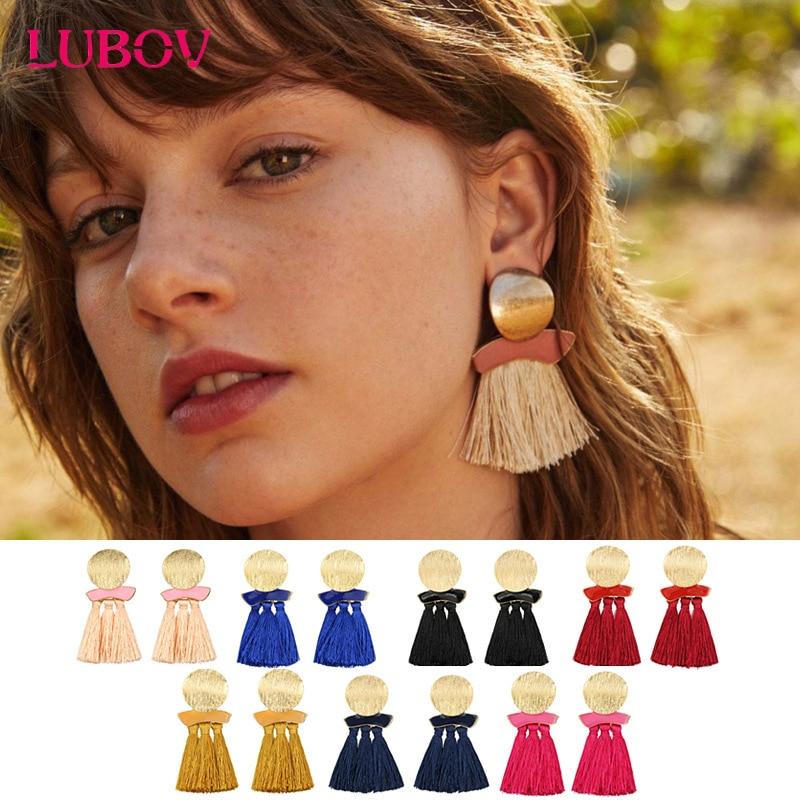 Fashion Acrylic Stone Metal Stud Earrings Beautiful Long Tassel Earring Women Jewelry 2018 New Year Gift for Girlfriend