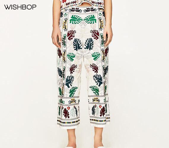 Hojas Colores Alta Étnica Wishbop De 2017 Mujer Calidad Con Pierna Pants Bordado Blanca Lateral Cremallera Recortada Ancha Pantalones Sgvng