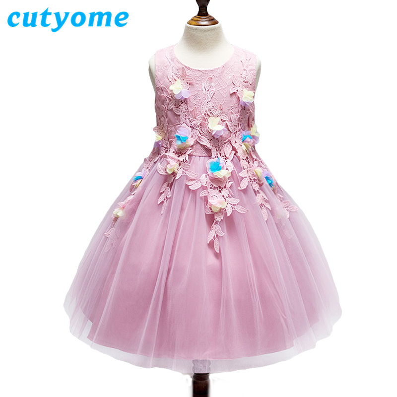 Flower Girl Dresses For Wedding Cutyome Summer Kids Bow Tulle Hi-lo Princess Pageant Aqua Wedding Party Dress Children Clothing summer 2017 new girl dress baby princess dresses flower girls dresses for party and wedding kids children clothing 4 6 8 10 year
