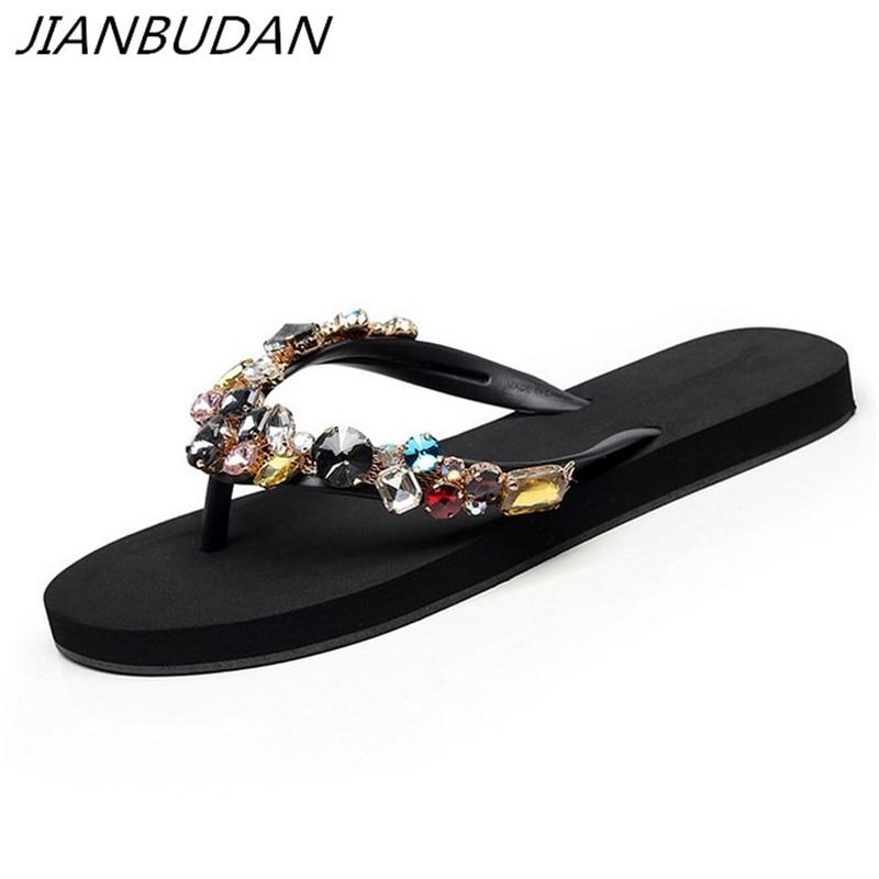 JIANBUDAN/ Women's flat comfortable beach shoes Non-slip soft bottom Casual flip flops Rhinestone decoration Summer flat slipper