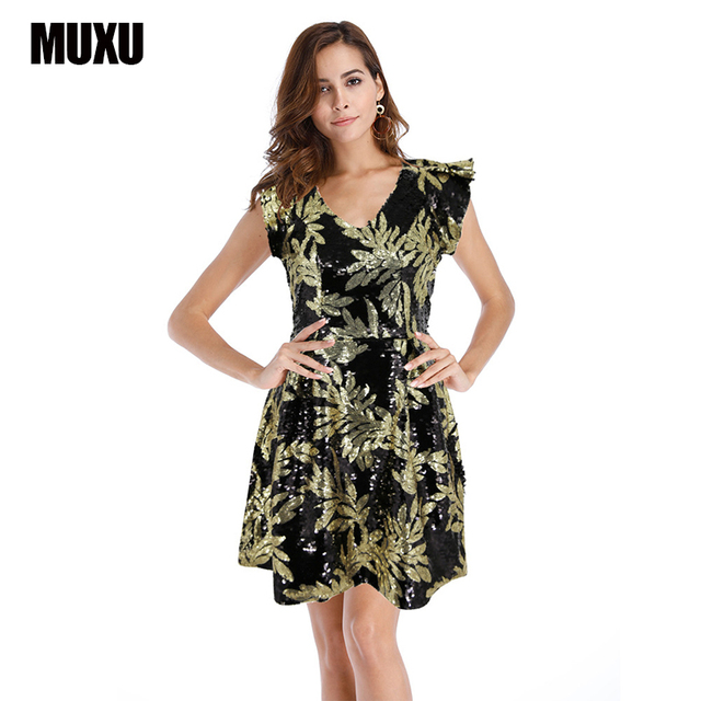 MUXU sexy party dresses women sequin womens clothing summer club glitter  ruffle patchwork jurken vestidos mujer tunic ladies 6f40464ae0f7