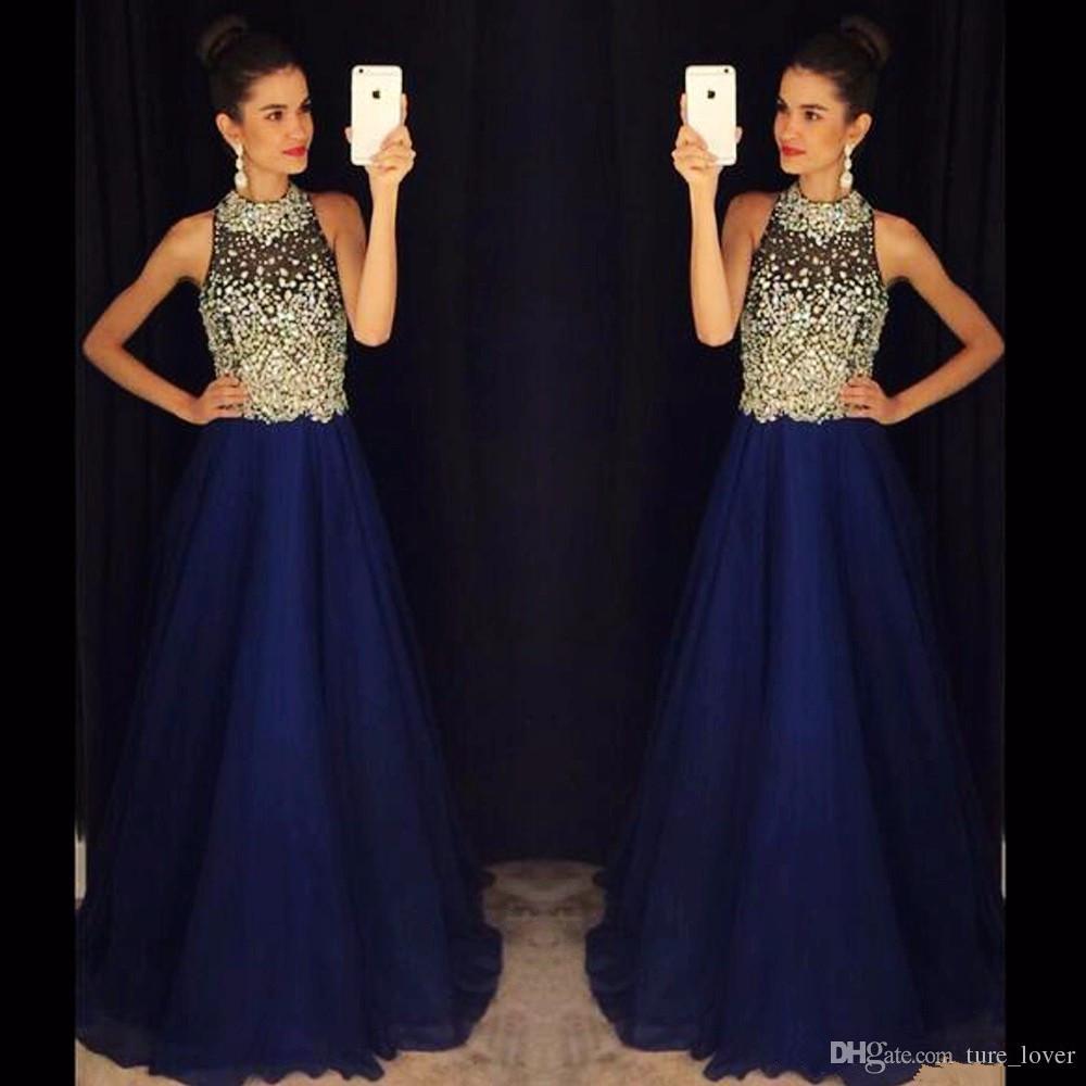 Vestido de festa longo 2019 Sparkly High Neck Long   Prom     Dress   Vestidos de fiesta largos elegantes de gala Evening   Dress