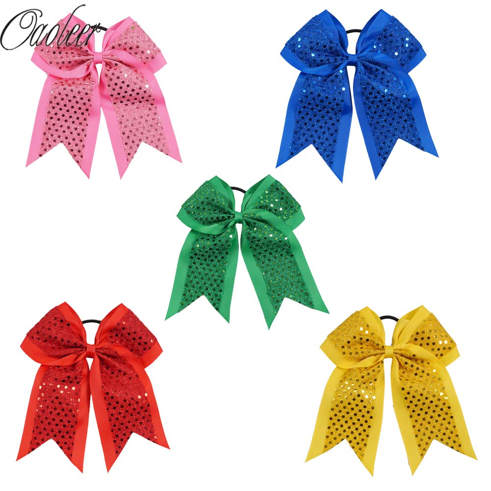 7 Inch Large Sequin Grosgrain Ribbon Cheer Bows Rubber Black Band Girls Hair Accessories Cheerleading Ponytail Holder 6pcs lot 7 inch sequin bling large cheer bowknot elastic hair band girls cheerleading for girl