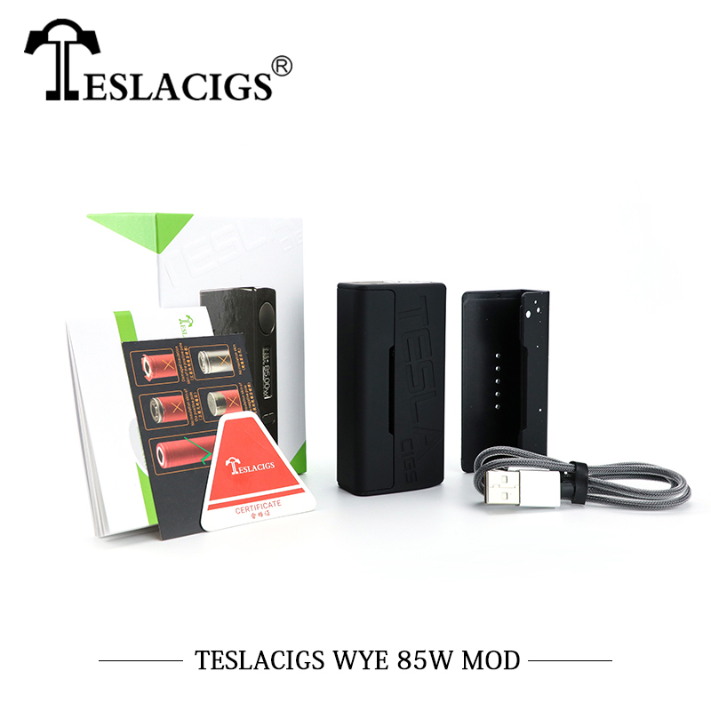 Original TESLACIGS Tesla WYE 85W Box Mod 510 Thread TC Vape Mod For Vaporizer Vape pen vapor Hookah Electronic Cigarette WYE Mod e xy electronic cigarette spring terminal connector loaded 510 connector for diy mod 510 spring connector box mod for vape