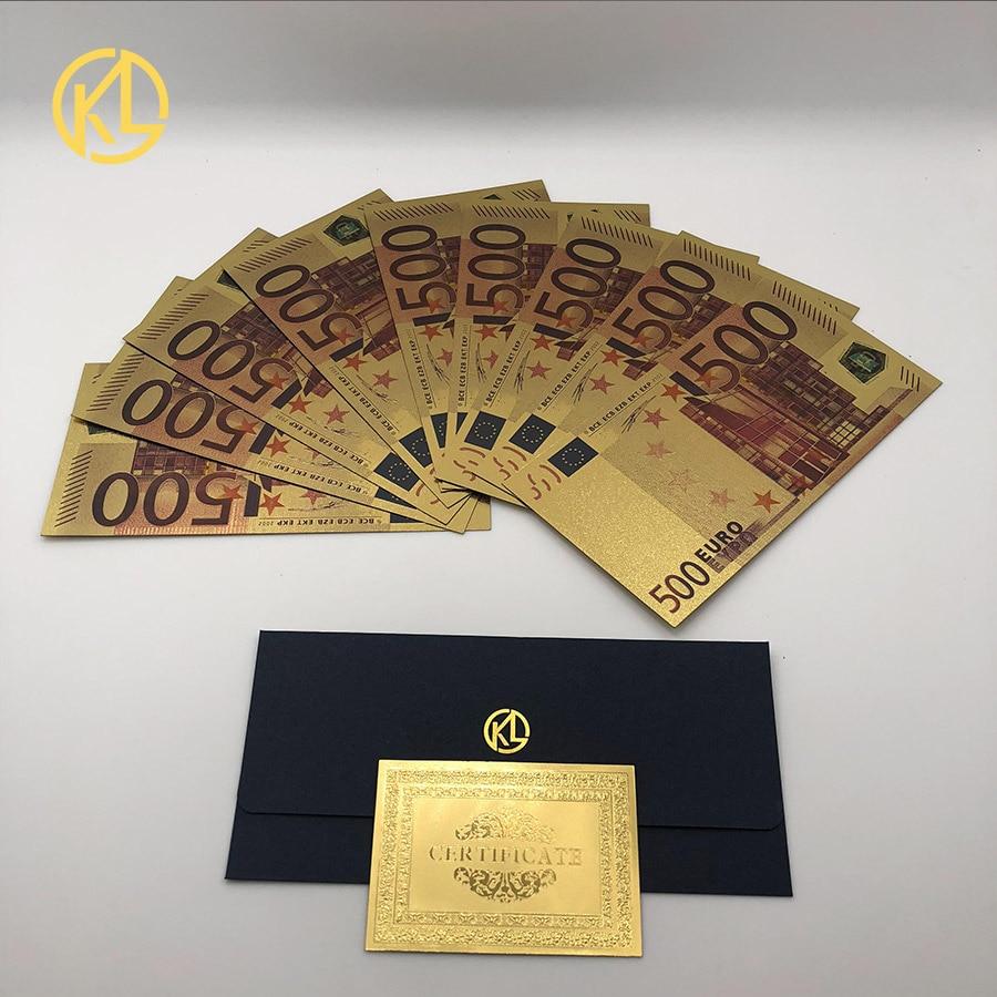 10 шт./лот яркие европейские банкноты 500 евро банкноты в золотой фольге 24K поддельные деньги для подарка