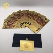 10 pçs/lote colorido moeda de cédula europeia 500 notas de euro em 24k folha ouro dinheiro falso para presentes