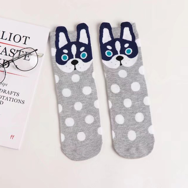 Women's Cartoon Dogs and Dots Patterned Socks
