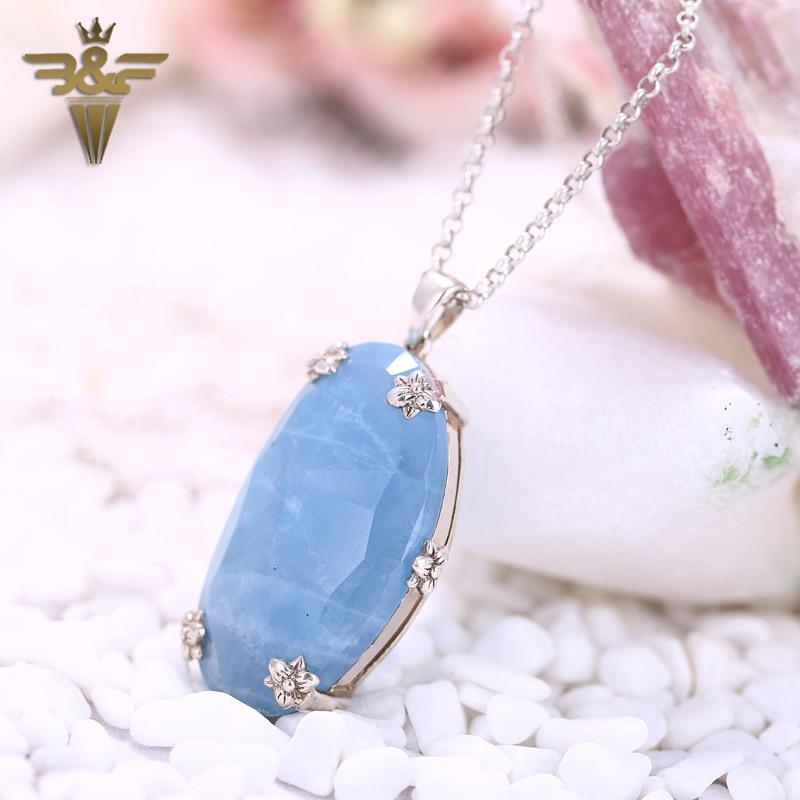 AAA Natural Stone Precious Blue Aquamarine Silver 925 Custom Jewelry Gift Manual Edge Pendant 34x21x12mm 12.5g