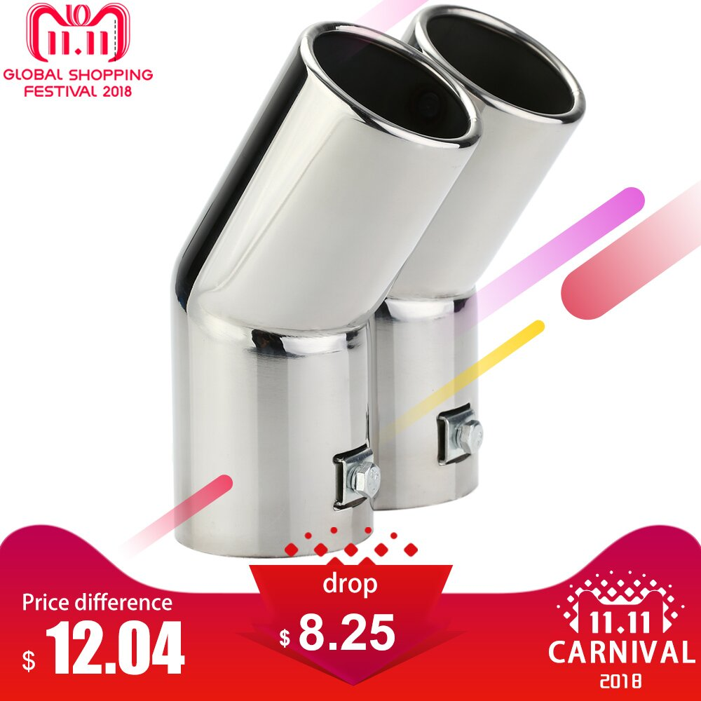 Car Tail Pipes Replacement Car Style Dual Pipe Stainless Steel Exhaust Tail Pipes Muffler Tips for VW Golf 4 Bora Jetta 2 5 inch 4 inch 63mm exhaust pipe vertical drum car exhaust pipe exhaust tail pipe refires drum sound stainless steel pipes