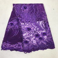 2018 Tulle French Embroidered Mesh Lace Fabric Purple Color African Lace Fabric High Quality Guipure Lace