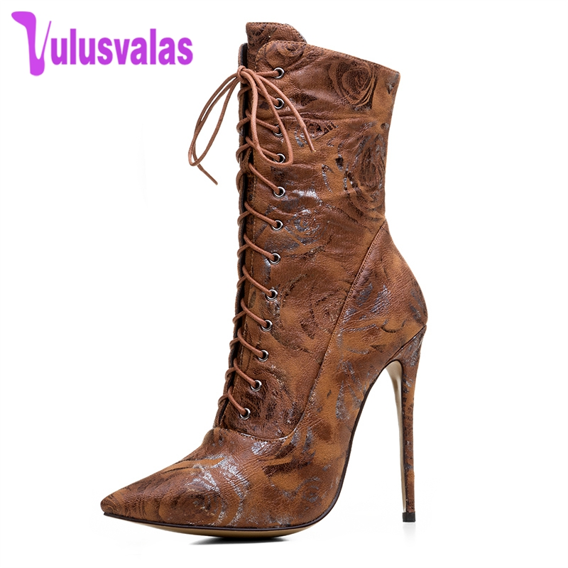 FANIMILA 4 Colors Size 33-43 Women High Heel Boots Mid Calf Lace Up Print Pointed Toe Ladies Boots Vintage Punk Club Footwear moraima snc chic women winter platform pointed toe mid calf boots solid black lace up fringe vintage suede high heel
