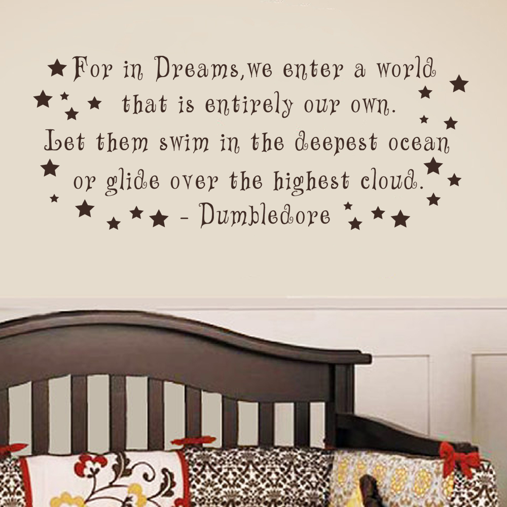 For In Dreams We Enter A World Dumbledore Wall Decal Harry Potter - Wall decals harry potter