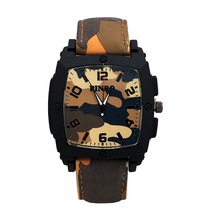 2016 New PINBO Famous Brand Casual Quartz Watch Men Camouflage Leather Strap Military Watches Relogio Feminino Hot Sale Clock